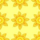 Naadloos patroon met bloemen in in gele kleuren Royalty-vrije Stock Afbeeldingen