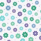 Naadloos patroon met bloemen in koele kleuren Stock Afbeelding