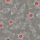 Naadloos patroon met bloemen, krabbels, en robijnen Royalty-vrije Stock Afbeelding