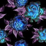 Naadloos patroon met bloemen Nam toe De illustratie van de waterverf Royalty-vrije Stock Fotografie