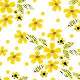 Naadloos patroon met bloemen op gestreept Stock Foto