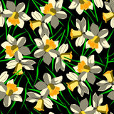 Naadloos patroon met bloemen op zwarte achtergrond Stock Afbeeldingen
