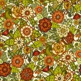 Naadloos patroon met bloemen Overladen krabbel Royalty-vrije Stock Foto