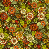 Naadloos patroon met bloemen Overladen krabbel Royalty-vrije Stock Foto's