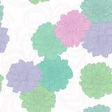 Naadloos patroon met bloemen Patroon 08 Hand-drawn contourlijnen en slagen Stock Afbeelding
