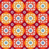 Naadloos patroon met bloemen in rode en oranje cirkels Stock Foto's