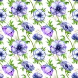 Naadloos patroon met bloemen van de waterverf de witte purpere anemoon De lente bloemenontwerp voor huwelijksuitnodiging royalty-vrije stock foto