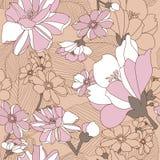 Naadloos Patroon met Bloemenachtergrond. Stock Afbeeldingen