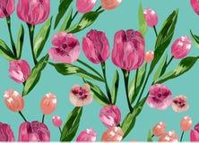 Naadloos patroon met bloemenachtergrond Royalty-vrije Stock Afbeelding
