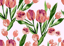 Naadloos patroon met bloemenachtergrond Stock Afbeeldingen