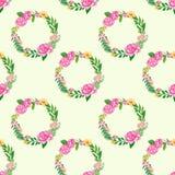 Naadloos patroon met bloemenkroon Stock Foto's