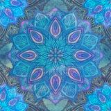 Naadloos patroon met bloemenornament Ronde caleidoscoop royalty-vrije stock fotografie