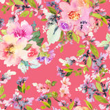 Naadloos patroon met bloemenwaterverf Stock Foto's