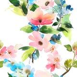 Naadloos patroon met bloemenwaterverf royalty-vrije illustratie