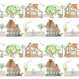 Naadloos patroon met blokhuizen, tuin, bomen en omheining op een witte achtergrond watercolor De tekening van het kind `s stock illustratie