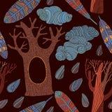 Naadloos patroon met bomen Stock Afbeelding