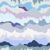 Naadloos patroon met bomen en bergen Royalty-vrije Stock Fotografie