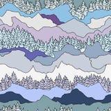 Naadloos patroon met bomen en bergen Royalty-vrije Stock Afbeelding