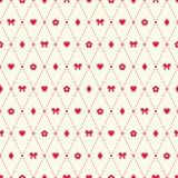 Naadloos patroon met boog, bloem, hart en argyle elementen Stock Fotografie