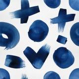 Naadloos patroon met borstel geschilderde elementen Royalty-vrije Stock Foto's