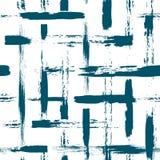 Naadloos patroon met borstelkruis en slagen Blauwe kleur op witte achtergrond Hand geschilderde landhuistextuur inkt Royalty-vrije Stock Foto's