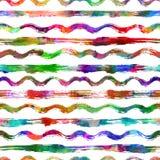 Naadloos patroon met borstelstrepen en golven Regenboogkleur op witte achtergrond Hand geschilderde landhuistextuur inkt Royalty-vrije Stock Afbeeldingen