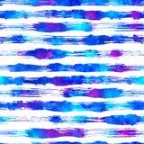 Naadloos patroon met borstelstrepen en slagen Blauwe kleur op witte achtergrond Hand geschilderde landhuistextuur inkt Stock Foto's