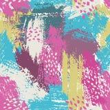 Naadloos patroon met borstelstrepen en slagen Roze blauwe violette kleur Achtergrond Hand geschilderde landhuistextuur inkt Royalty-vrije Stock Afbeelding