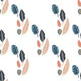 In naadloos patroon met bosinstallaties, bladeren Stock Fotografie