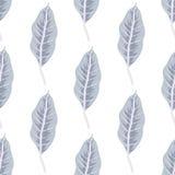 In naadloos patroon met bosinstallaties, bladeren Stock Afbeelding