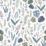 In naadloos patroon met bosinstallaties, bladeren, zaden en kegels Stock Afbeeldingen