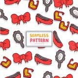 Naadloos Patroon met Bowties, Zonglas, Vrouwenschoen en Spiegel Royalty-vrije Stock Afbeeldingen