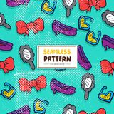 Naadloos Patroon met Bowties, Zonglas, Vrouwenschoen en Spiegel Royalty-vrije Stock Foto