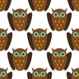 Naadloos patroon met Bruine uilen Royalty-vrije Stock Foto