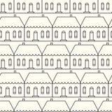 Naadloos patroon met buitenhuizen Royalty-vrije Stock Afbeeldingen