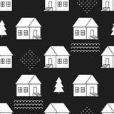 Naadloos patroon met buitenhuizen Stock Afbeelding