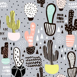 Naadloos patroon met cactus en hand getrokken texturen Perfectioneer voor stof, textiel Het kan voor prestaties van het ontwerpwe vector illustratie