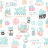Naadloos patroon met cactussen en succulents royalty-vrije illustratie