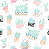 Naadloos patroon met cactussen en succulents stock illustratie