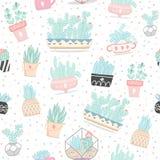 Naadloos patroon met cactussen en succulents stock illustratie