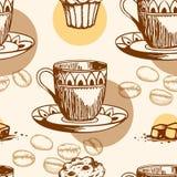 Naadloos patroon met cake en koffie Royalty-vrije Stock Afbeelding
