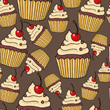 Naadloos patroon met cakes Royalty-vrije Stock Afbeelding