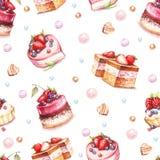 Naadloos patroon met cakes De hand trekt waterverfillustratie Stock Foto