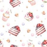 Naadloos patroon met cakes De hand trekt waterverfillustratie Royalty-vrije Stock Foto