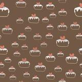 Naadloos patroon met cakes en harten Vector royalty-vrije illustratie