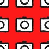 Naadloos patroon met camera's Met de hand geschilderd met ruwe borstel vector illustratie