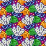 Naadloos patroon met Carnaval maskers Het art. van de roosterklem Royalty-vrije Stock Fotografie
