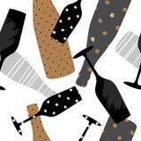 Naadloos patroon met champagneglas en fles Hand getrokken stof, giftomslag, het ontwerp van de muurkunst vector illustratie