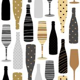 Naadloos patroon met champagneglazen Hand getrokken stof, giftomslag, het ontwerp van de muurkunst stock illustratie