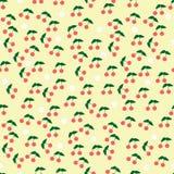 Naadloos Patroon met Cherry Fruits en Bloemen Royalty-vrije Stock Fotografie